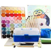 54色果冻水粉画白颜料装马丽套装初学者小学生用工具箱美术生用品
