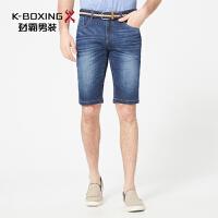 劲霸男装短裤 2017夏季新款中腰水洗牛仔短裤 商务休闲牛仔裤