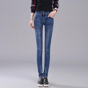 Modern idea女裤牛仔裤女小脚裤弹力修身百搭长裤铅笔裤