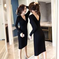 针织连衣裙女修身2018新款v领中长款毛衣气质包臀长袖打底裙秋冬 黑色 S
