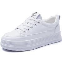 系带小白鞋女2019春季新款百搭网红厚底松糕鞋子学生韩版休闲板鞋夏季百搭鞋 白色