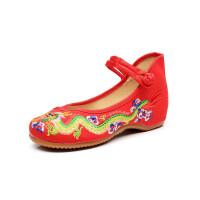老北京布鞋女绣花鞋低跟中国风民族绣龙艺术绣花鞋新款大码女鞋单鞋牛筋底休闲舞蹈鞋女