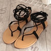 夹趾凉拖凉鞋女夏平底罗马复古交叉绑带学生平跟夹脚波西米亚凉鞋