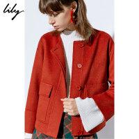 【2件5折价:1359.5元】【羊绒大衣Lily2018冬新款女装纯色短款宽松双面呢羊绒大衣