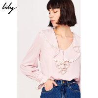 Lily春新款女装粉色花边荷叶领直筒通勤套头衫雪纺衫8964