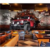 越野车墙贴3D3D立体越野车酒吧汽车装饰背景墙贴画海报纸自粘贴纸壁画 大