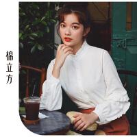 衬衫女2019春季新款棉立方木耳边拼接设计感小众长袖立领纯棉衬衣
