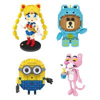 loz俐智积木卡通人偶系列网红同款热门IP粉红豹小颗粒拼装积木玩具