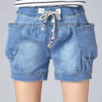 春夏牛仔短裤女薄款大码宽松弹力灯笼裤系带松紧高腰排扣