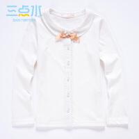 三点水童装秋装上新女中大童时尚纯色单排扣长袖翻领圆领t恤