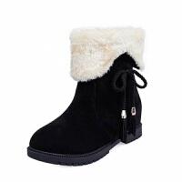 2019秋冬季韩版平跟短靴女加绒棉靴靴女短筒学生靴子新款保暖雪地