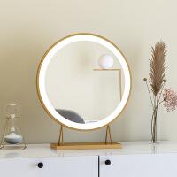 北欧ins网红补光镜子化妆镜台式LED智能桌面梳妆台镜圆形壁挂卧室