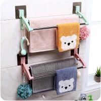 免打孔浴室浴巾架卫浴挂件单杆双杆不锈钢毛巾置物架
