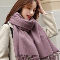 羊毛围巾女秋冬季韩版百搭100%纯色两用羊绒长款加厚冬天披肩围脖