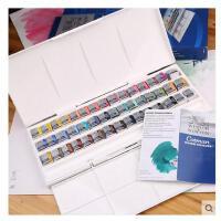 温莎牛顿歌文固体水彩颜料45色 12色 24色铁盒全块半块水彩套装