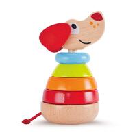 Hape佩佩有声堆塔12个月以上宝宝彩虹木质堆塔电子发声婴幼玩具木制玩具E0448