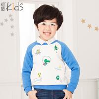 初语童装 新款 男童卫衣拼接儿童卫衣上衣 T5405210101