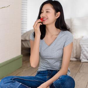 包邮 茵曼内衣 舒适弹力透气棉质 v领短袖打底衫女上衣T恤 9871031155