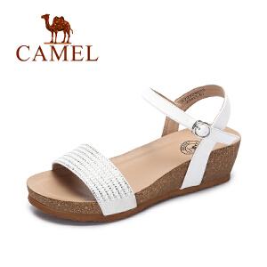 camel骆驼女鞋  春夏季新款 坡跟凉鞋 夏天女士水钻时尚百搭高跟鞋子