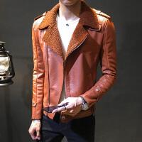 2018新款秋冬季男士加绒加厚皮衣修身皮夹克机车外套青年社会男装