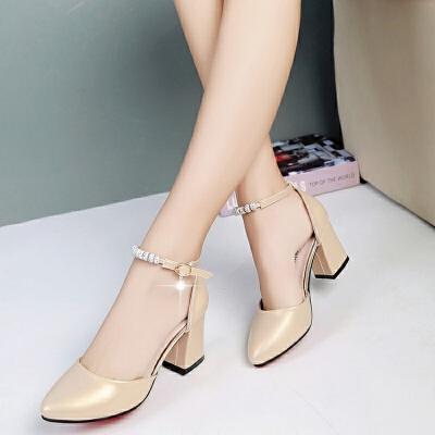 高跟鞋女夏韩版一字扣带中空凉鞋女尖头粗跟单鞋包头浅口中跟女鞋