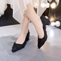 夏季女潮2019潮流单鞋女纯色时尚欧风绒面高跟单鞋尖头粗跟潮百搭