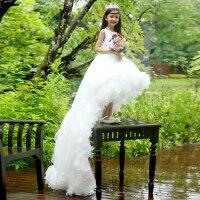 女童公主裙花童裙礼服裙儿童蓬蓬裙婚纱裙拖尾长裙演出表演裙