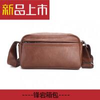 韩版男士休闲小包时尚单肩斜挎包潮流商务背包横款小皮包青年男包 咖啡色