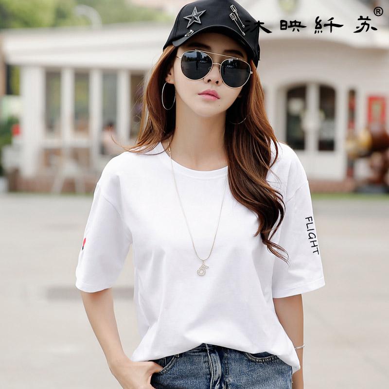短袖t恤女宽松韩版bf风夏装新款半袖打底体恤衫短袖上衣女潮