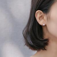 枫叶耳钉清新简约拉丝树叶气质个性小耳骨钉叶子耳饰