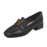 方头小皮鞋女两穿粗跟春季豆豆单鞋加大码41 特大码女鞋