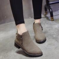 春秋季短靴女靴子中跟粗跟圆头马丁靴女铆钉平底单靴学生复古英伦 卡其色 单靴