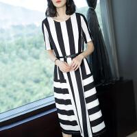 原创黑白条纹连衣裙女夏装2018新款女装长裙气质短袖雪纺连衣裙GH069 黑白条方