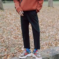 前短后长纯色毛呢面料休闲裤男士宽松长裤小直筒裤潮流秋冬季裤子