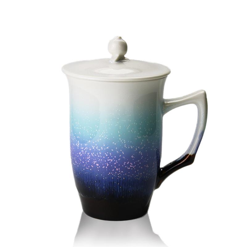 乾唐轩活瓷杯 雪晶石榴高杯盖杯 高档陶瓷水杯子办公杯商务礼品杯
