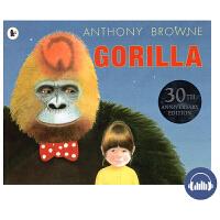 【首页抢券300-100】Gorilla英文绘本 Anthony Browne 大猩猩30周年纪念版 安东尼布朗 凯特格
