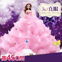 大拖尾仿真婚纱巴比娃娃套装大礼盒女孩公主玩具洋娃娃生日礼物
