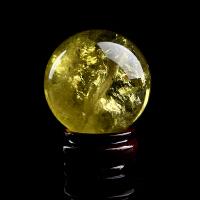 巴西黄水晶球 天然水晶原石手工打磨 天然黄水晶球摆件可鉴定