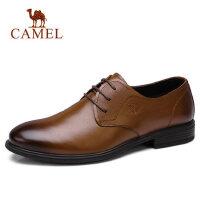 camel 骆驼男鞋春季新款商务休闲鞋真皮英伦系带小牛皮皮鞋男