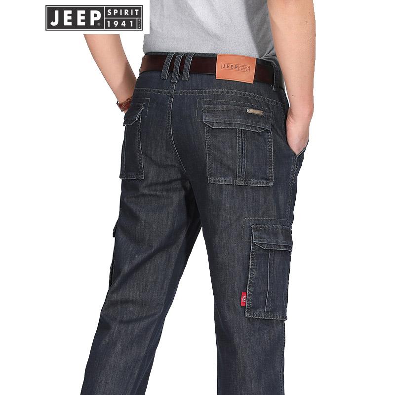 JEEP吉普牛仔裤男多袋裤工装牛仔裤春秋装男士直筒牛仔裤商务休闲免烫牛仔长裤