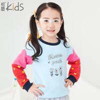 初语童装 冬季新款 女童卫衣 长袖撞色套头卫衣 T5405210012