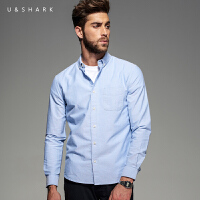 优鲨春秋季新款衬衫男装商务休闲纯色免烫衬衣修身男长袖衬衫