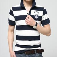 夏季新款男士大码t恤条纹polo衫韩版修身条纹翻领t恤