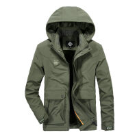 9852A秋冬新品战地吉普中长款夹克衫外套 可脱卸帽加绒茄克衫男装