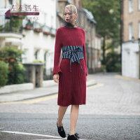 生活在左2018秋季新款长袖毛织显瘦喇叭袖羊毛连衣裙中长款裙子女