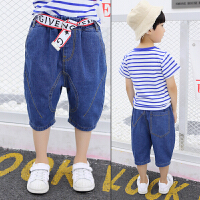 男童七分裤夏男孩薄款纯棉小童夏季宽松儿童牛仔短裤