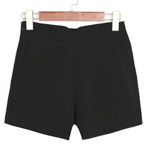卡茗语新款韩版短裤女高腰微喇无弹女短裤时尚修身显瘦2017新款夏装