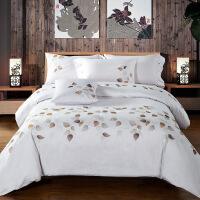60长绒棉刺绣花纯棉四件套贡缎提花结婚庆床单全棉床上用品 2米床 被套220*240cm 4件套