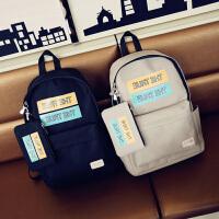 韩版新款背包自拍朋友圈字母学生包子母女包时尚旅行包双肩包