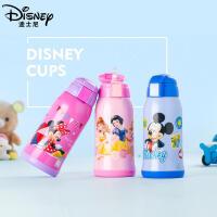 迪士尼保温杯双盖不锈钢小学生水杯儿童保温杯带吸管宝宝便携水杯